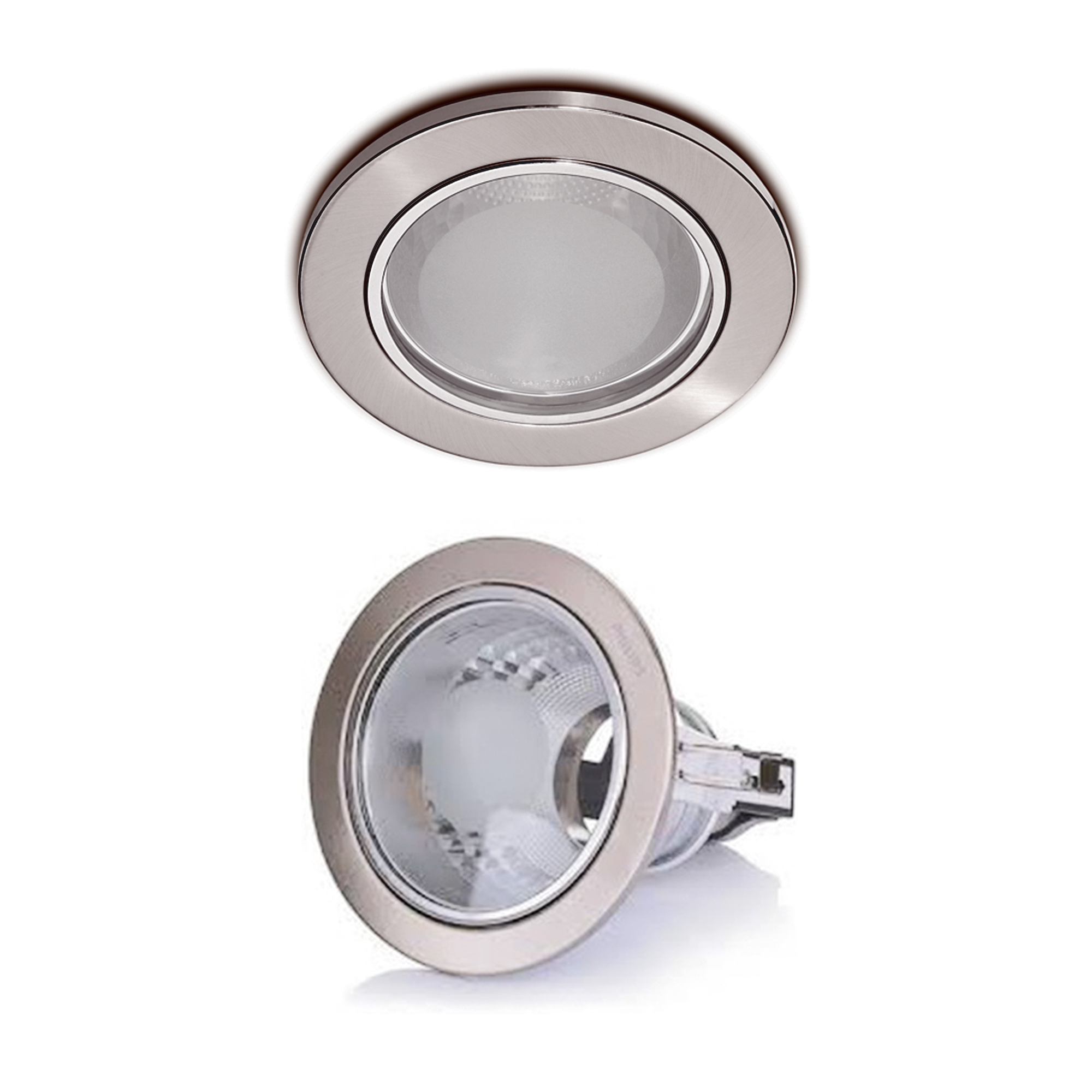 Lampu Downlight Philips Glass Recessed 13802 Nikel 3 Inch